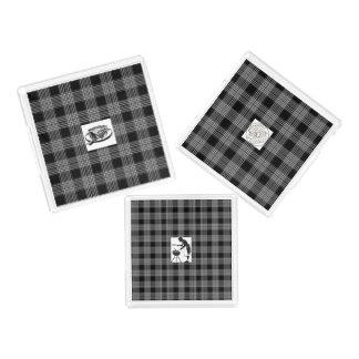 3-Set des plateaux noirs de portion de plaid