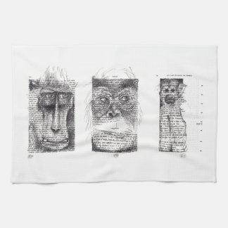 3 singes pour la serviette de cuisine de zodiaque