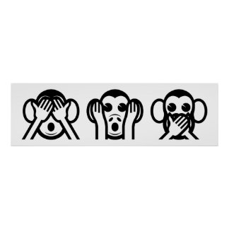 3 singes sages Emoji Posters