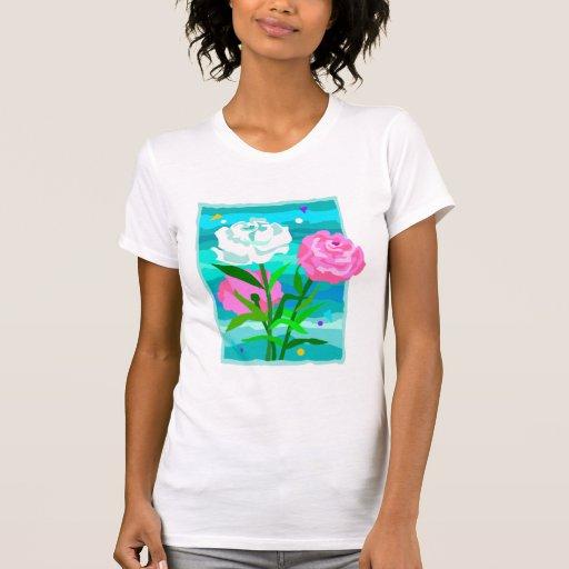 3 tee - shirts de roses t-shirt