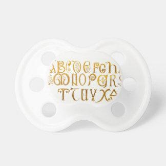3 Tétines alphabet doré