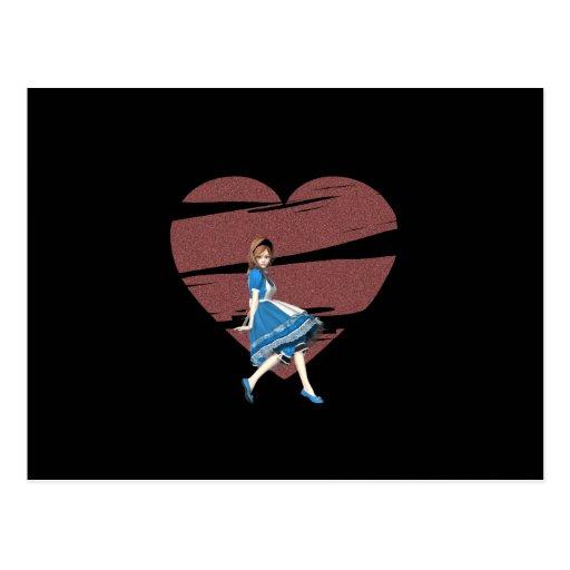 3D Alice et coeur rouge Carte Postale