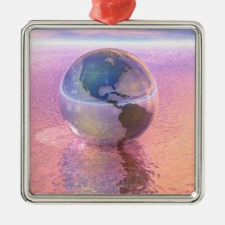 3D globe 12 Ornement Carré Argenté