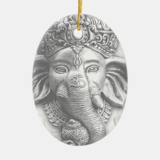 3d seigneur Ganesha - OM Ornement Ovale En Céramique