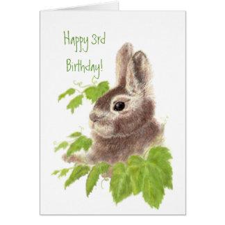 3ème animal de l'anniversaire de l'enfant mignon carte de vœux