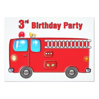3ème anniversaire de camion de pompiers fabuleux carton d'invitation