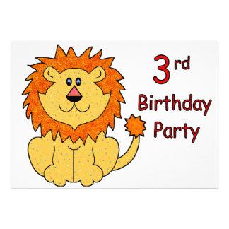 3ème anniversaire de lion mignon invitations