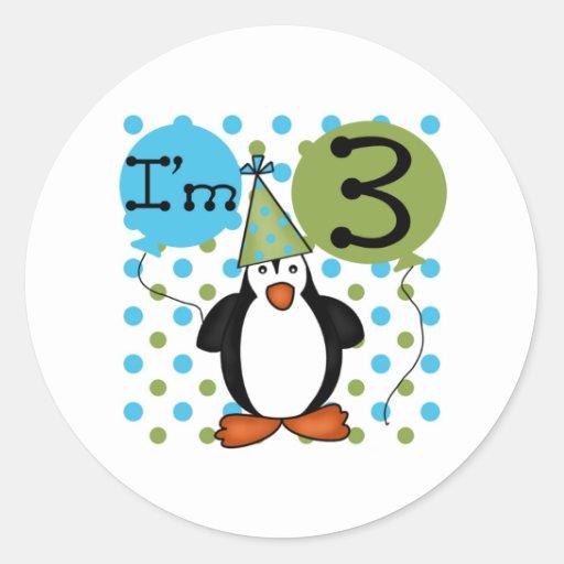 3ème Anniversaire de pingouin Adhésif Rond