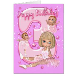 3ème Carte d'anniversaire avec la ballerine