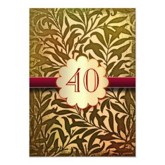 40 ans d'anniversaire d'invitations de cru carton d'invitation  12,7 cm x 17,78 cm