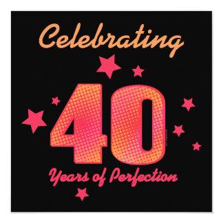 40 ans d'invitation faite sur commande carton d'invitation  13,33 cm