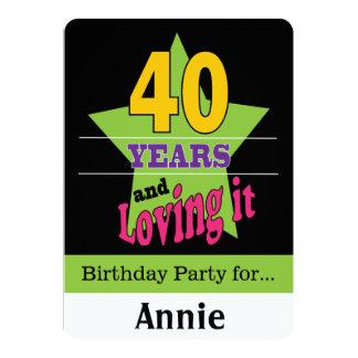 40 ans et l'aimer carton d'invitation  12,7 cm x 17,78 cm