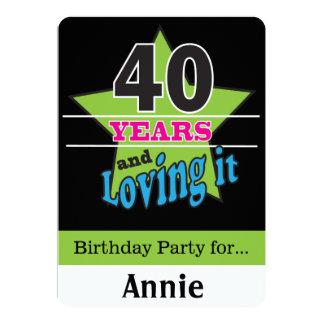 40 ans et l'aimer ! quarantième anniversaire de | carton d'invitation  12,7 cm x 17,78 cm