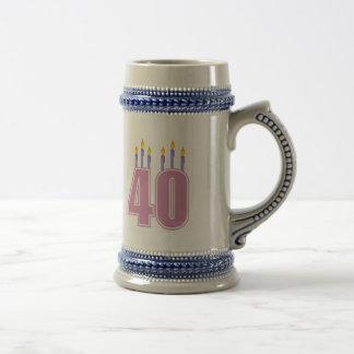 40 bougies (rose/pourpre) chope à bière