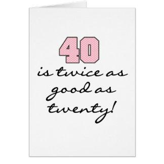 40 deux fois meilleur que 20 carte de vœux