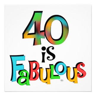 40 est T-shirts et cadeaux fabuleux d anniversaire Invitation
