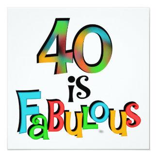 40 est T-shirts et cadeaux fabuleux d'anniversaire Carton D'invitation 13,33 Cm