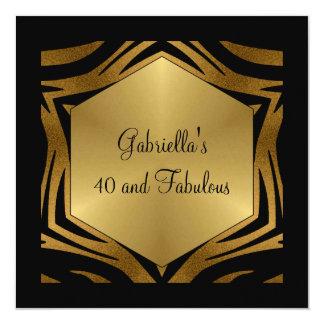 40 et anniversaire animal en bronze noir fabuleux carton d'invitation  13,33 cm