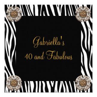 40 et anniversaire animal exotique noir fabuleux 2 invitations