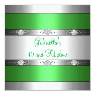 40 et anniversaire argenté vert clair fabuleux invitations