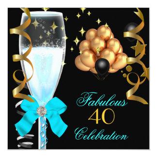 40 et anniversaire bleu turquoise fabuleux carton d'invitation  13,33 cm