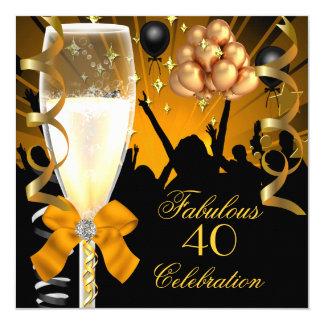 40 et anniversaire fabuleux Champagne de noir d'or Carton D'invitation 13,33 Cm