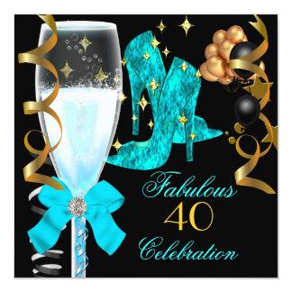 40 et chaussures bleues turquoises fabuleuses carton d'invitation  13,33 cm