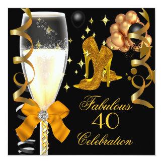 40 et chaussures fabuleuses d'anniversaire de noir carton d'invitation  13,33 cm