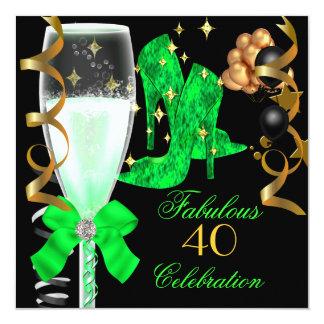 40 et chaussures fabuleuses d'anniversaire d'or carton d'invitation  13,33 cm