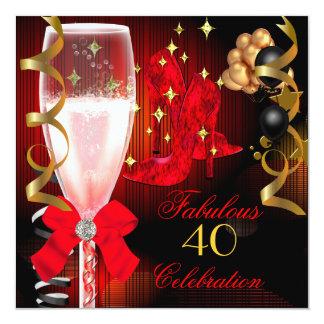 40 et chaussures noires rouges fabuleuses carton d'invitation  13,33 cm
