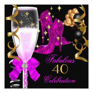 40 et chaussures pourpres roses fabuleuses carton d'invitation  13,33 cm