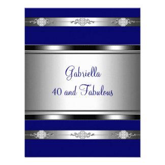 40 et fête d anniversaire argentée bleu-foncé fabu invitation personnalisable