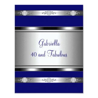 40 et fête d'anniversaire argentée bleu-foncé invitation personnalisable