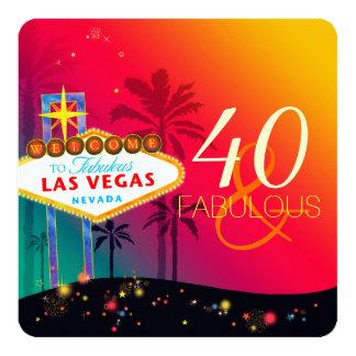 40 et fête d'anniversaire fabuleuse de Las Vegas Carton D'invitation 13,33 Cm