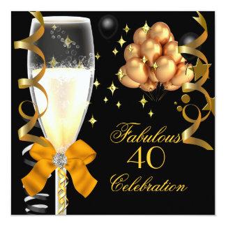 40 et fête d'anniversaire fabuleuse de noir d'or carton d'invitation  13,33 cm