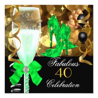 40 et fête d'anniversaire fabuleuse d'or de noir carton d'invitation  13,33 cm