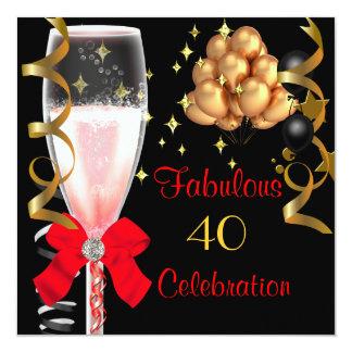 40 et fête d'anniversaire noire rouge fabuleuse carton d'invitation  13,33 cm