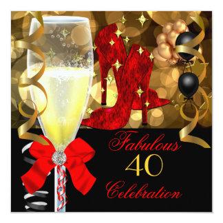 40 et fête d'anniversaire noire rouge fabuleuse cartons d'invitation personnalisés