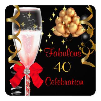 40 et fête d'anniversaire noire rouge fabuleuse bristols personnalisés