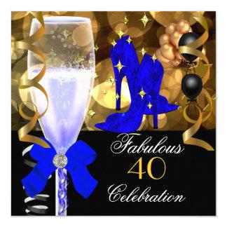 40 et fête d'anniversaire royale fabuleuse d'or de carton d'invitation  13,33 cm