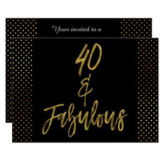40 et invitation fabuleuse d'anniversaire de