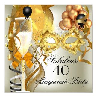 40 et partie fabuleuse de mascarade de noir de carton d'invitation  13,33 cm