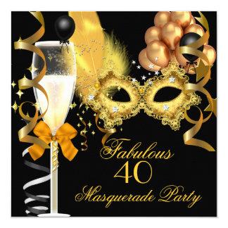 40 et partie fabuleuse de mascarade de noir d'or carton d'invitation  13,33 cm