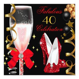 40 et quarantième fête d'anniversaire d'or noir faire-parts
