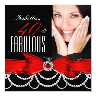 40 fabuleux anniversaire blanc noir rouge de photo carton d'invitation  13,33 cm