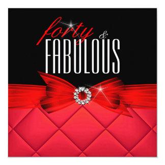 40 fabuleux fête d'anniversaire élégante noire carton d'invitation  13,33 cm