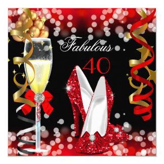40 fabuleux l'or noir rouge bouillonne partie carton d'invitation  13,33 cm