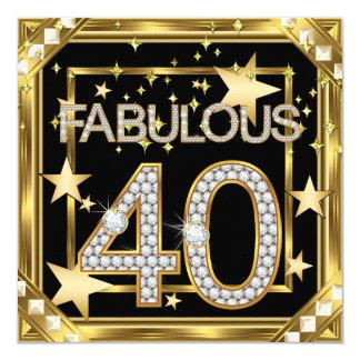 40 fabuleux rétro cadre 2 d'or de Hollywood du Carton D'invitation 13,33 Cm