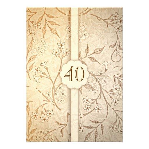 40 invitations florales vintages d'anniversaire de