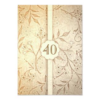 40 invitations florales vintages d'anniversaire de carton d'invitation  12,7 cm x 17,78 cm